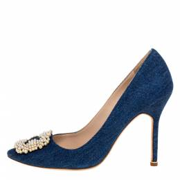 Manolo Blahnik Blue Denim Fabric Hangisi Pearl Embellished Pumps Size 39 325631