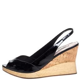 Miu Miu Black Patent Leather Vintage Slingback Wedge Platform Sandals Size 38 325518