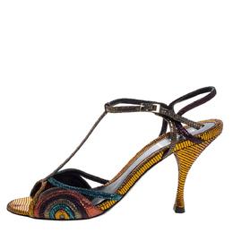 Fendi Multicolor Glitter Leather Ankle Strap Sandals Size 38.5 325196