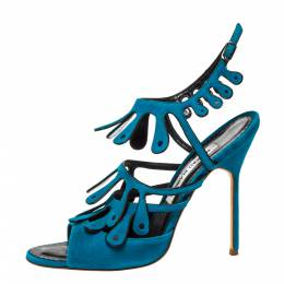 Manolo Blahnik Blue Suede Strappy Ankle Strap Sandals Size 39 323000