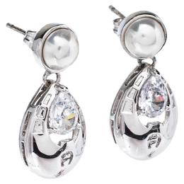 Aigner Faux Pearl & Crystal Silver Tone Drop Earrings 325184
