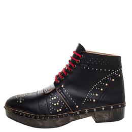 Burberry Black Leather Antrim Embellished Fringe Detail Platform Ankle Boots Size 44 325567