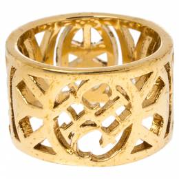 Ch Carolina Herrera Gold Tone Filigree Wide Band Ring 325148