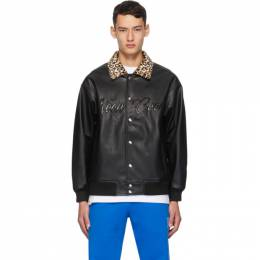 Noon Goons Black Faux-Leather Fly By Jacket NGFW20-013