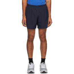 New Balance Navy and Green Impact Run 5-Inch Shorts MS01241