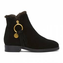 See By Chloe Black Shearling Louise Ankle Boots SB33110B 10200