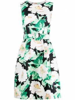 Oscar De La Renta платье с цветочным принтом и поясом 20PN604VPF
