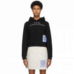 MCQ by Alexander McQueen Black Truth Consequences Crop Hoodie 624611RPT72