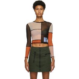 MCQ by Alexander McQueen Multicolor Patchwork Mesh Long Sleeve T-Shirt 624594RPJ30