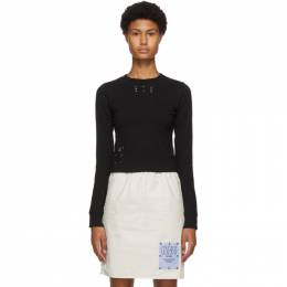 MCQ by Alexander McQueen Black Jack Branded Slim Long Sleeve T-Shirt 639128RPR21