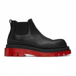 Bottega Veneta Black and Red Low The Tire Chelsea Boots 630281 VBS50