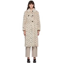 Stella McCartney Beige Kira Furry Double-Breasted Coat 600554SPB13