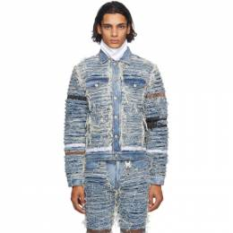 1017 Alyx 9Sm Blue and Beige Blackmeans Edition Denim Jacket AZMOU0117FA05.F20