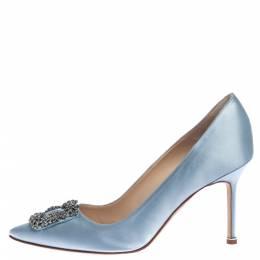Manolo Blahnik Grey Satin Hangisi Crystal Embellished Pointed Toe Pumps Size 40.5 326151
