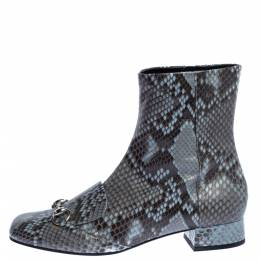 Gucci Grey/Brown Python Leather Horsebit Ankle Boots Size 40 326156