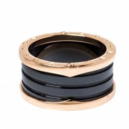 Bvlgari B.Zero1 4-Band Black Ceramic 18K Rose Gold Band Ring Size 62 325052
