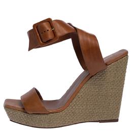 Saint Laurent Brown Leather Square Toe Raffia Wedge Platform Sandals 40.5 324824