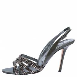 Gina Dark Grey Patent Leather Crystal Embellished Slingback Sandals Size 40.5 326217