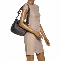 Dior Metallic Grey Cannage Leather Drawstring Shoulder Bag 324758