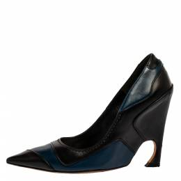 Dior Black/Blue Leather Wedge Pointed Toe Pumps Size 37 325888