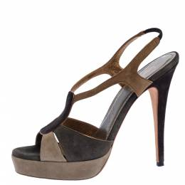 Yves Saint Laurent Tri Color Suede Slingback Platform Sandals Size 40.5 326223