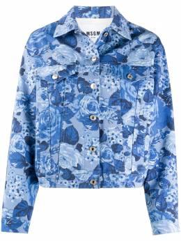 MSGM джинсовая куртка с цветочным принтом 2941MDH50L207732
