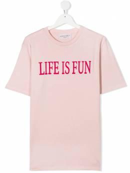 Alberta Ferretti Kids футболка с надписью Life Is Fun 025419