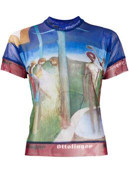 Ottolinger сетчатая футболка с абстрактным принтом AW20TO05J