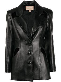 Materiel cut-out leather jacket FW20LAN1057BZBK