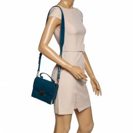 Michael Kors Dark Teal Leather Small Jayne Top Handle Bag 325056