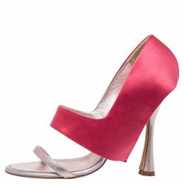 Manolo Blahnik Pink/Metallic Satin And Leather Heel Cover Open Toe Sandals Size 38.5 326101