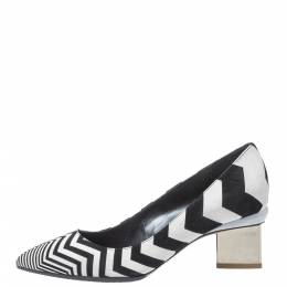 Nicholas Kirkwood Black/White Zigzag Print Leather Pointed Toe Pumps Size 35 325868
