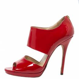 Jimmy Choo Red Patent Leather Open Toe Sandals Size 39.5 325710