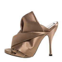 No. 21 Brown Satin Raso Knot Peep Toe Mules Size 38 325243