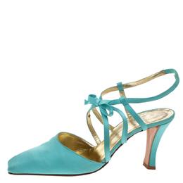 Dior Light Blue Satin Bow Ankle Strap Square Toe Sandals Size 38 326391