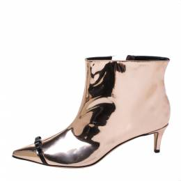 Marco De Vincenzo Metallic Rose Gold Bow Pointed Toe Ankle Boots Size 37 326276