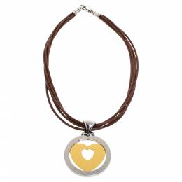 Bvlgari Tondo Heart 18K Yellow Gold & Stainless Steel Large Pendant Cord Necklace 325834