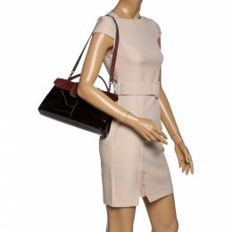 Cartier Burgundy Patent Leather/Suede and Python Feminine Line Top Handle Bag 326149