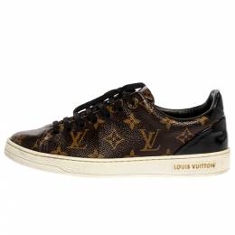 Louis Vuitton Brown Monogram Canvas And Patent Leather Frontrow Low Top Sneakers Size 37.5 326468