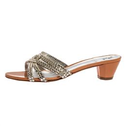Gina Beige/Silver Crystal Embellished Leather Strappy Sandals Size 39 326494
