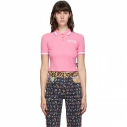 Versace Jeans Couture Pink Crop Institutional Logo Polo EB2HZA72T E36571