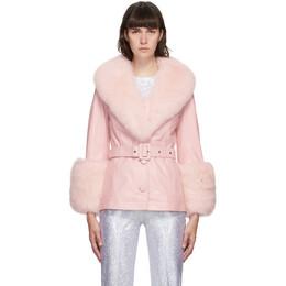 Saks Potts Pink Fur Shorty Jacket 49513