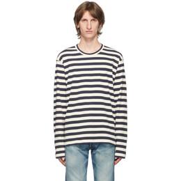 Junya Watanabe Blue and White Stripe Long Sleeve T-Shirt WF-T009-051