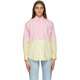 Comme Des Garcons Shirt Pink and Yellow Poplin Colorblock Shirt W28070