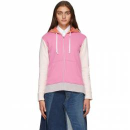 Comme Des Garcons Shirt Pink and Orange Colorblock Logo Zip-Up Hoodie W28117