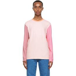 Comme Des Garcons Shirt Pink and Orange Colorblock Logo Long Sleeve T-Shirt W28119