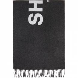 Comme Des Garcons Shirt Grey Wool Logo Scarf W28202