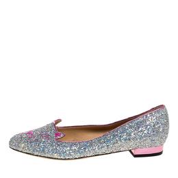 Charlotte Olympia Silver Glitter Cat Ballet Flats Size 41 326455