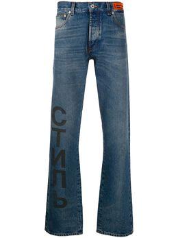 Heron Preston джинсы прямого кроя с графичным принтом HMYA010F20DEN0054000
