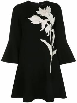Oscar De La Renta платье-трапеция с аппликацией 20PE211STWBLK